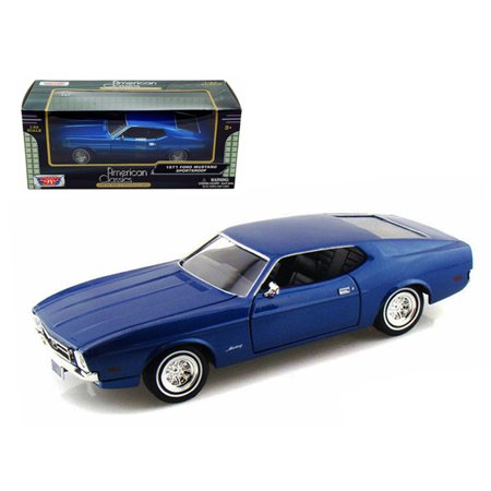 - 1971 Ford Mustang Sportsroof Blue 1/24 Diecast Model Car by Motormax