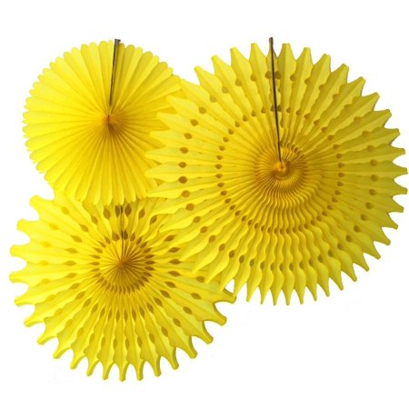 Fan Decorations (Hanging Yellow Tissue Fan Decorations, Set of 3 (21 inch, 18 inch, 13 inch) by Devra)