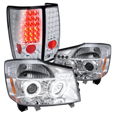 - Spec-D Tuning For 2004-2015 Nissan Titan Halo Led Chrome Projector Headlights, Led Tail Lights (Left+Right) 2004 2005 2006 2015