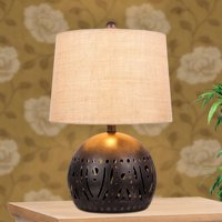 Cory Martin W-1543 21 in. Cut Metal with a Base Nightlight Feature Table Lamp - Brown Rustic