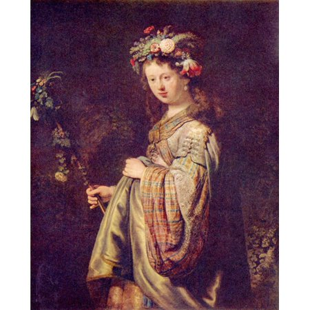 Harmensz Van - Framed Art for Your Wall Rembrandt Harmensz. van Rijn - Flora (portrait of Saskia as Flora) 10 x 13 Frame
