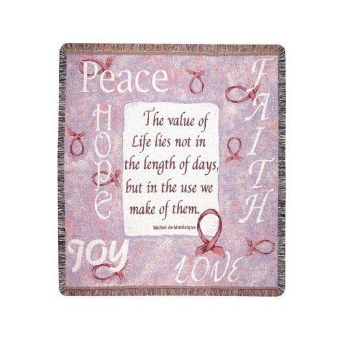 "Peace Hope Love Joy ""Value of Life"" Tapestry Throw Blanket 50"" x 60"""