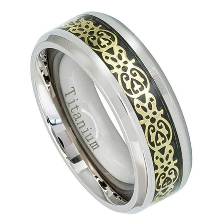 8mm Titanium with Aztec Cut-Out over Black Carbon Fiber Inlay Wedding Band Ring For Men Or Ladies