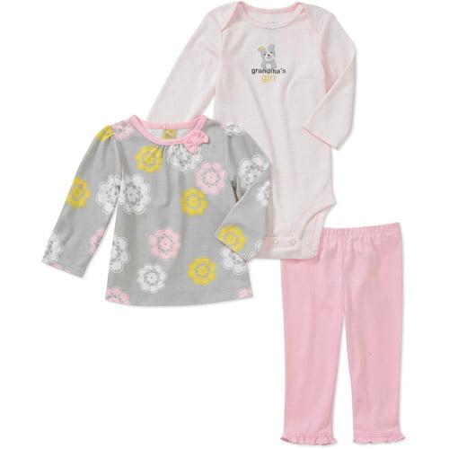 Newborn Girls' 3 Piece Floral Tee's and Pant Set