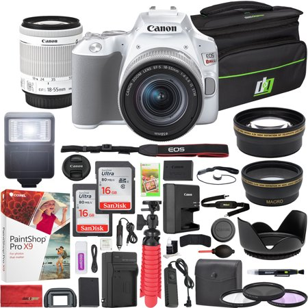 Canon EOS Rebel SL3 DSLR 24.1MP 4K Camera with EF-S 18-55mm f/3.5-5.6 IS II Lens (White) and Double Battery Two (2) 16GB SDHC Memory Cards Plus Flash Remote Filter Set Cleaning Kit Accessory Bundle