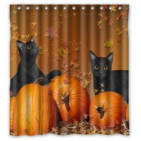 GreenDecor Happy Halloween Pumpkin With Black Cat Print Home Waterproof Shower Curtain Set with Hooks Bathroom Accessories Size 66x72 inches](Halloween Shower Curtain Set)