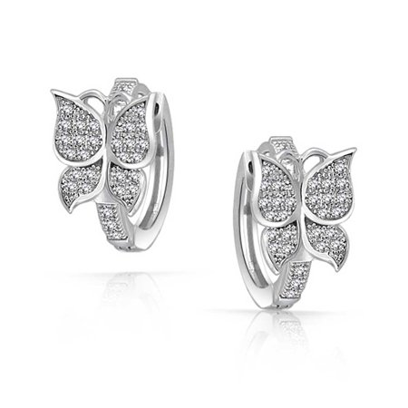 Butterfly Shaped Huggie Hoop Earrings For Women For Teen Micro Pave CZ Cubic Zirconia 925 Sterling Silver Cut Micro Pave Diamond Hoop