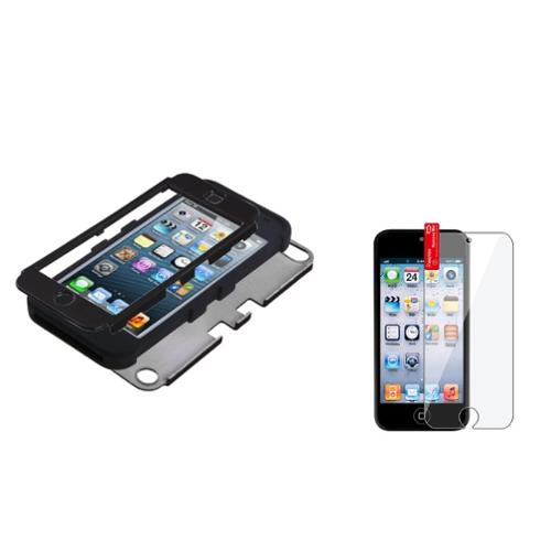 Insten Black/Black TUFF Hybrid Hard Case For Apple iPod touch 6 6th 5 5th +Protector
