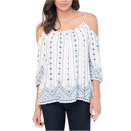 Cold Shoulder Women Print Half Sleeve Casual Chiffon Blouse Tops
