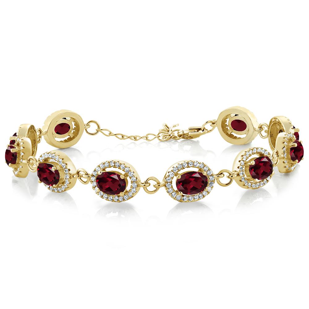 11.88 Ct Red Rhodolite Garnet 18K Yellow Gold Plated Silver Bracelet by
