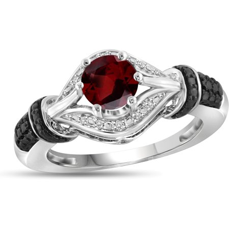 3/4 Carat T.G.W. Garnet And White Diamond Accent Black Rhodium Plating Sterling Silver Ring