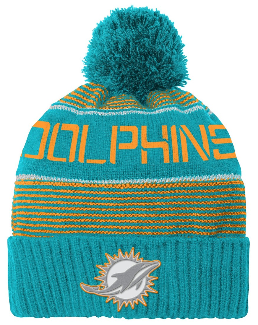 "Miami Dolphins Youth ""Magna"" NFL Reflective Cuffed Knit Hat w  Pom by Outerstuff"
