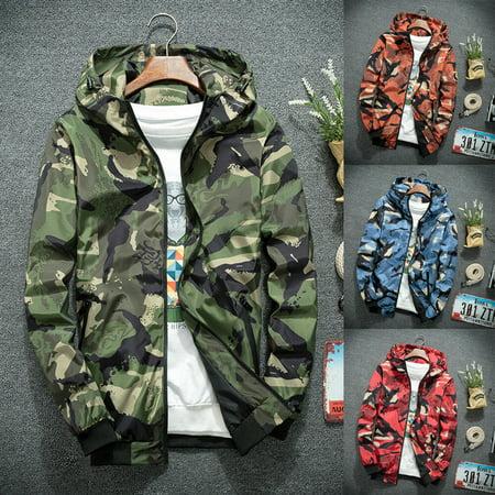 Coast Men Shirts (SUNSIOM Mens Camo Hoodie Zip Up Jacket Sweatshirt Hooded Top Warm Coat Jacket Outwear)