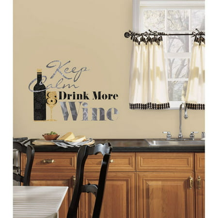 RoomMates Peel and Stick Decor Wall Decals Wine Quote 7 Pieces