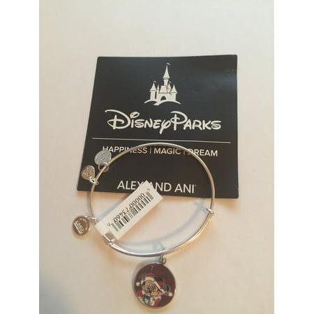 Disney Alex and Ani Parks Mickey Minnie Love Holiday Bangle Bracelet Silver New