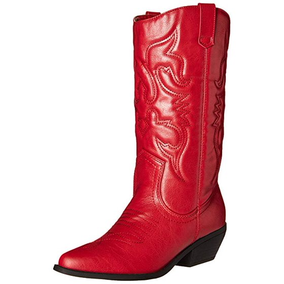 67d356b3716 Soda Women's Red Reno Western Cowboy Pointed Toe Knee High Pull On Tabs  Boots,Color Reda, Size: (7.5)