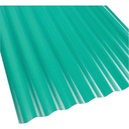 Suntop 108976 Corrugated Roofing Panel, 26 in W x 8 ft L, Rain Forest  Green, Polycarbonate