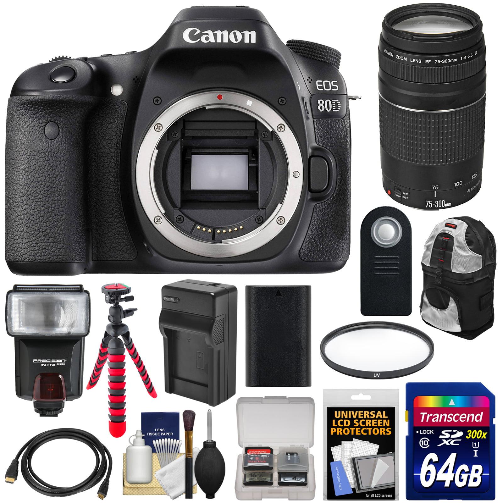 Canon EOS 80D Wi - Fi Digital SLR Camera Body with 75 - 300mm III Lens + 64GB Card + Battery + Backpack + Flash + Flex Tripod + Kit