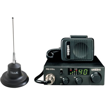 Uniden PRO510XL 40-Channel Compact CB Radio and Tram 300 Magnet-Mount CB Antenna Kit