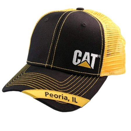 Party City In Peoria Il (Caterpillar CAT Equipment Peoria, IL Black & Yellow Mesh Snapback)