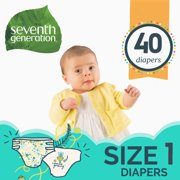 Seventh Generation Free & Clear Baby Diapers with Animal Prints Size 1, 40 Count