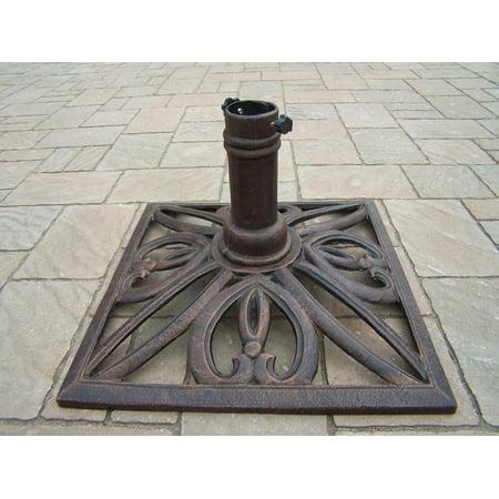 18 Square Antique Bronze Filigree Designed Cast Iron Patio Umbrella