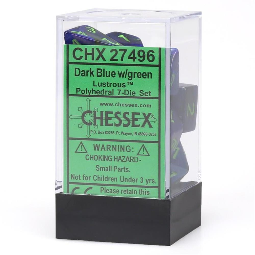 Polyhedral 7-Die Lustrous Set Dark Blue w/Green Chessex Manufacturing CHX27496