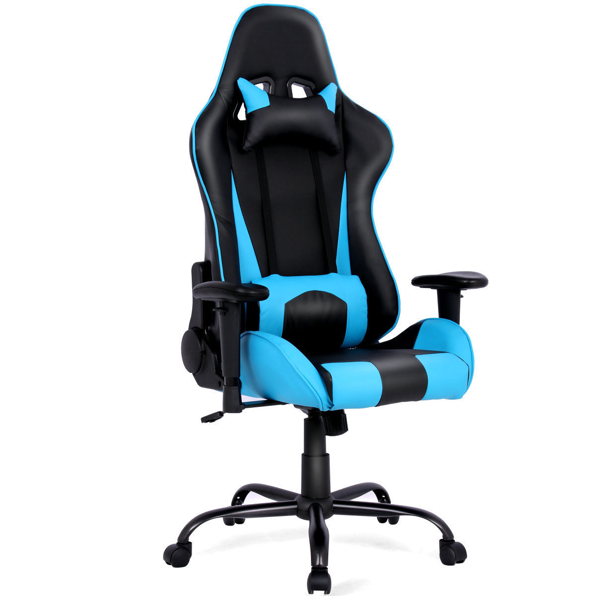 Costway Gaming Chair Racing High Back Office Chair w/ Lumbar Support and Headrest Blue