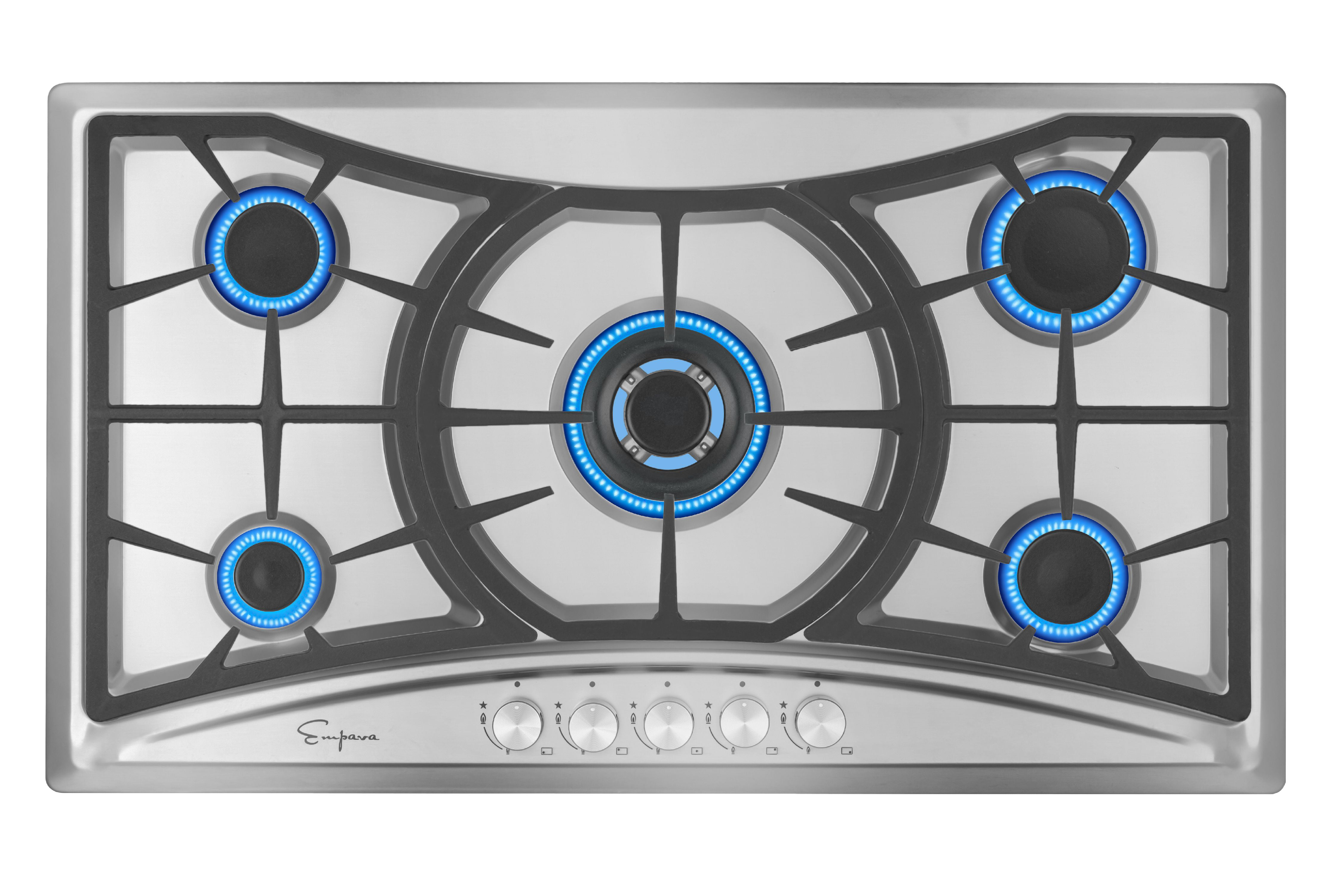 36 Inch Empava 36 Stainless Steel with 5 Burners Gas Cooktop