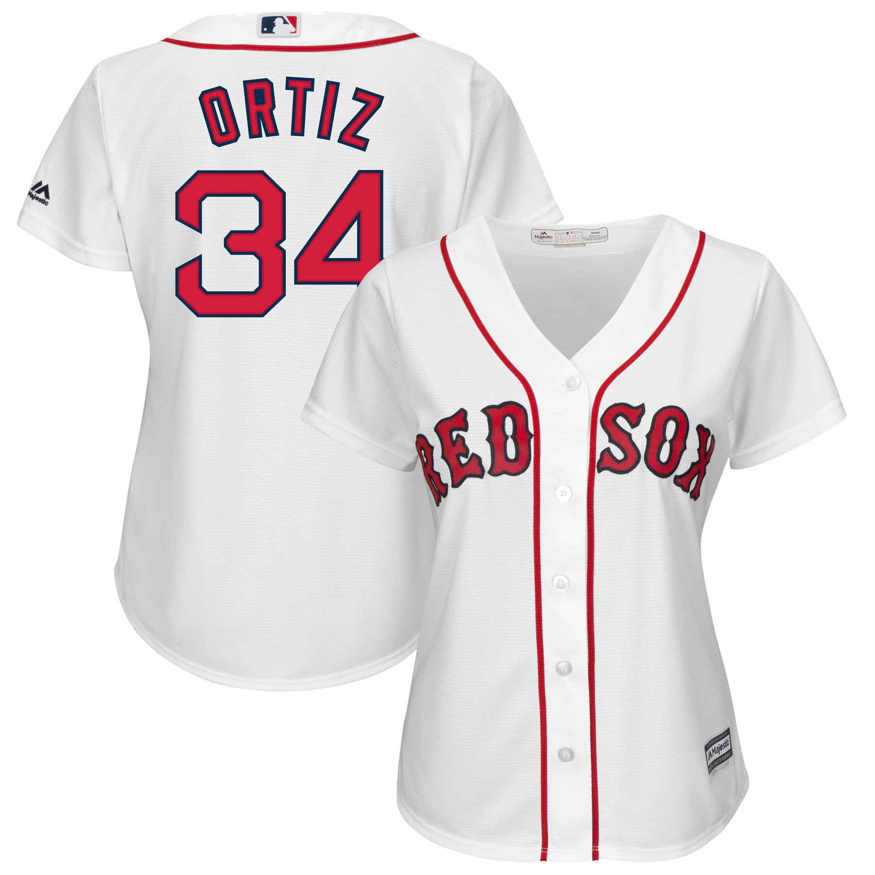David Ortiz Boston Red Sox Majestic Women's Cool Base Player Jersey White by MAJESTIC LSG