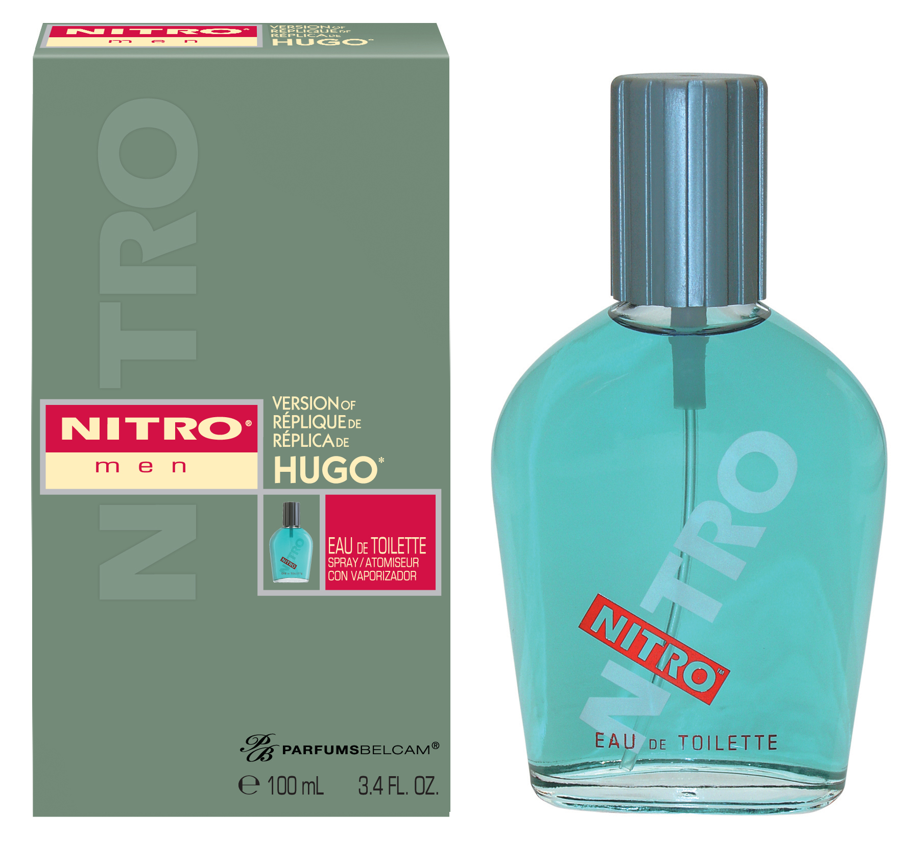 Nitro, version of Hugo*, by PB ParfumsBelcam, Eau de Toilette for Men, 3.4 oz