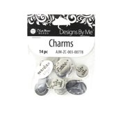 Blue Moon Beads Silver Words Charm, 14 Piece