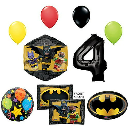 Lego Batman Birthday Party Supplies (The Lego Batman Movie 4th Birthday Party Supplies and Balloon)