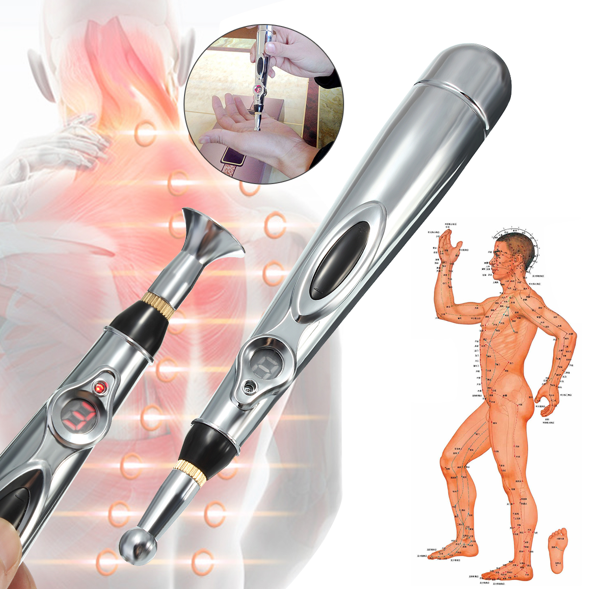 Portable Electronic Acupuncture Meridian Pen Energy Health Kit Heal Massage Pain