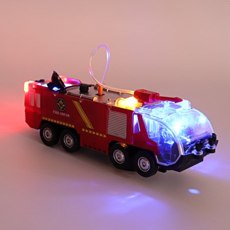 2 Types Firefighters Fire Engines Electric Universal Toy Car Can Water Sprey with Music Colorful Lights - image 6 de 8