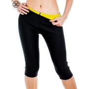 Luxtrada High Waist Neoprene Sauna Women's Shaping Pants Slimming Body Shapewear Fat Burner Waist Trainer Weight Loss Workout Legging Shorts Control Pants (Size L)
