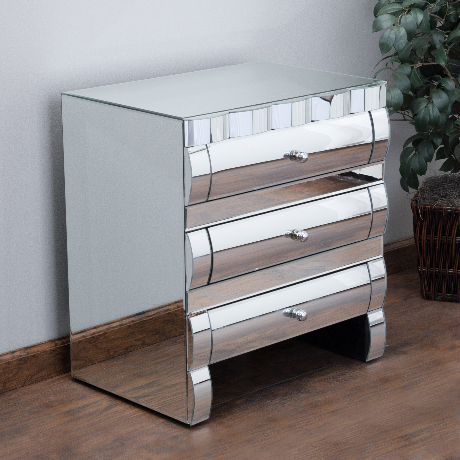 best selling home memphis mirrored 3 drawer nightstand