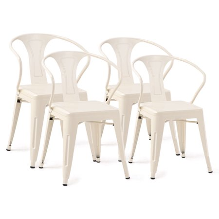 Costway Set of 4 Tolix Style Metal Chairs Arm Chair Kitchen Dining Side Chair Stackable