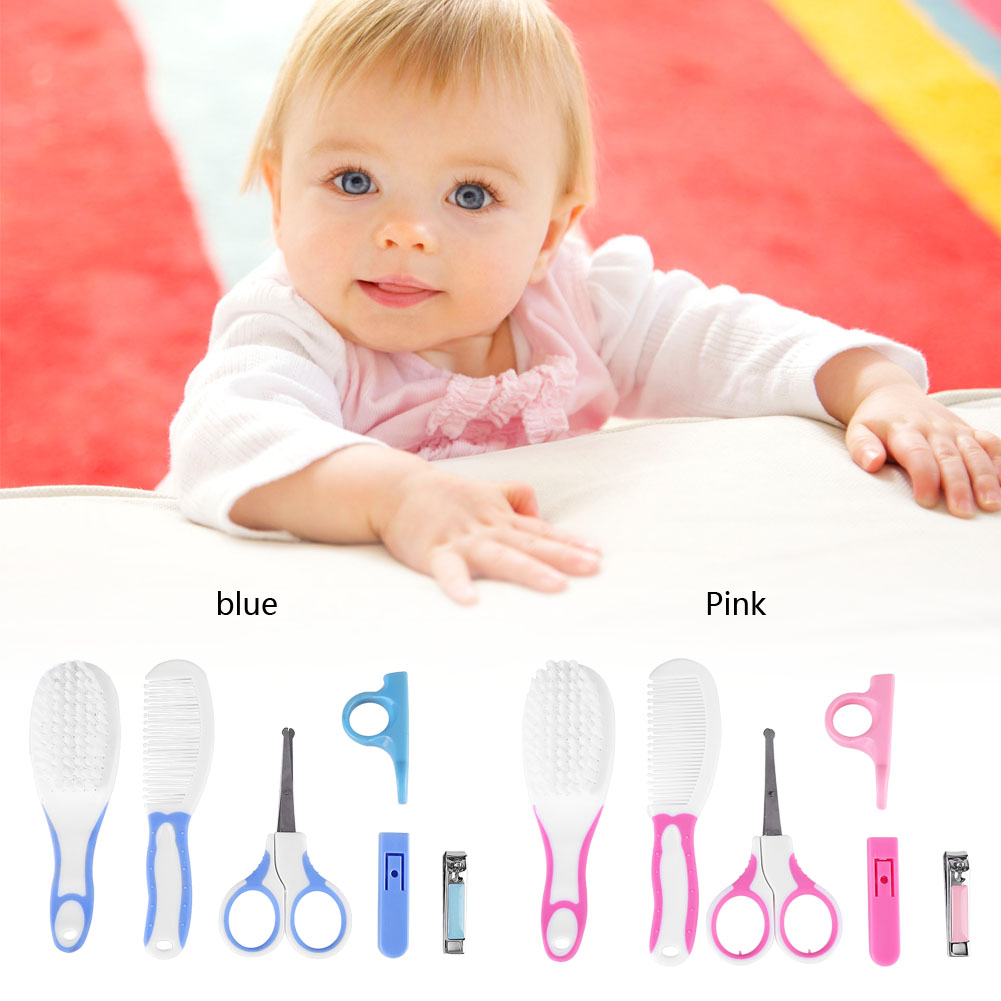 HURRISE 6pcs Convenient Daily Baby Nail Clipper Scissors Hair Brush Comb Manicure Care Kit