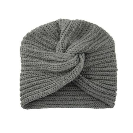 Tuscom Autumn Winter Warm Knitting Cap Solid Center Cross Women Hair Scarfs Headband
