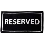 Zeckos Black And White Reserved Cotton Velour Beach Towel 30 X 60 in.