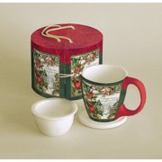 Tea Mug Set-Snowy Eve w/Cover & Steeper-Gift Boxed