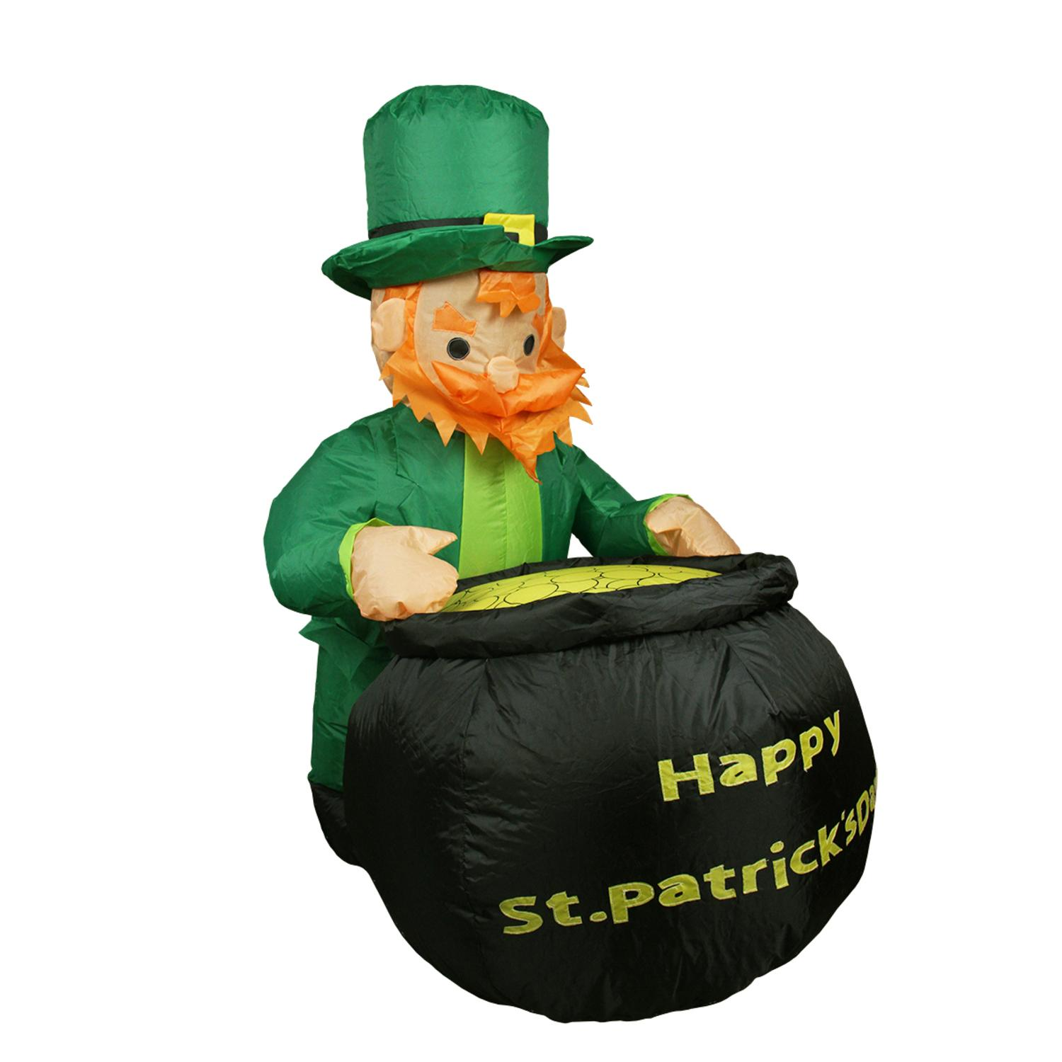 4' Inflatable Lighted Leprechaun with Pot of Gold St. Patrick's Day Yard Art Decoration