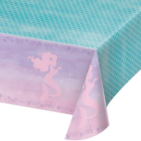Creative Converting Mermaid Shine Plastic Tablecover All Over Print, 54