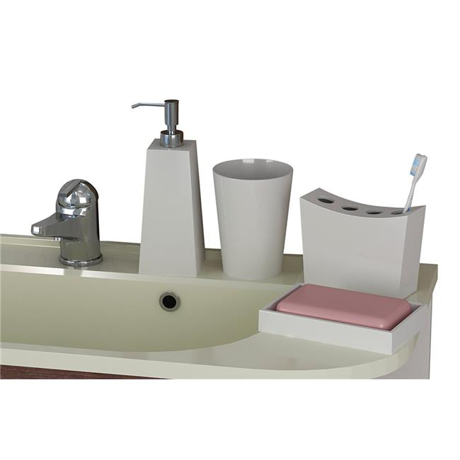 NuSteel ET-3456-SET4 Soap Dish  Tooth Brush Holder  Tumbler & Lotion Pump Elegant Set  4 Piece