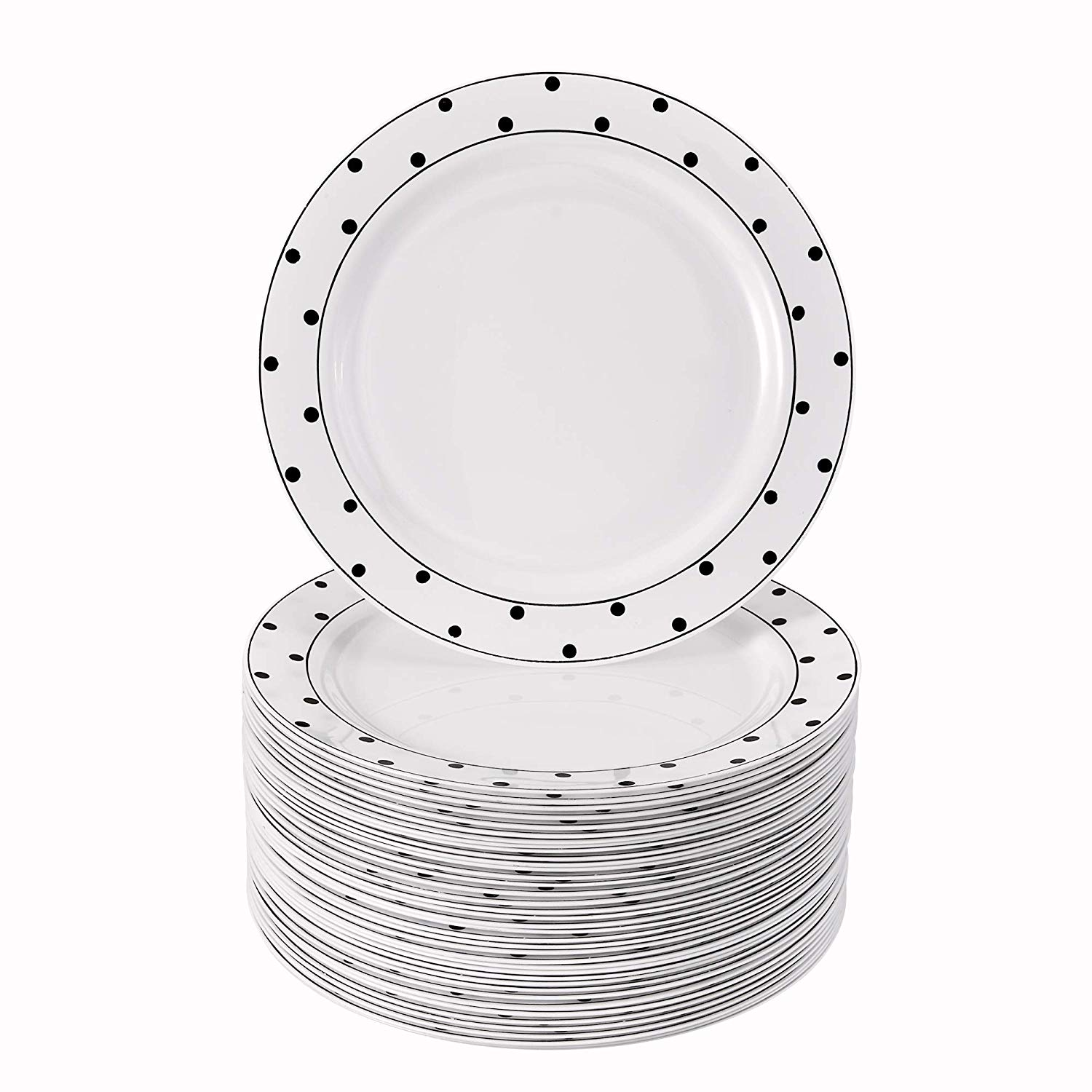 """40 Elegant Disposable Side Plates for Weddings (Dots Black 7.5"""") by Silver Spoons"""