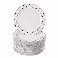 "40 Elegant Disposable Side Plates for Weddings (Dots Black - 7.5"")"