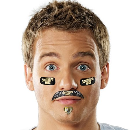 Southern Miss Golden Eagles Mustache Temporary Tattoo Pack - No Size](Mustache Tattoo)