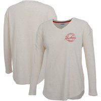 Nebraska Cornhuskers Women's Old School Script Thermal Long Sleeve V-Neck T-Shirt - Tan