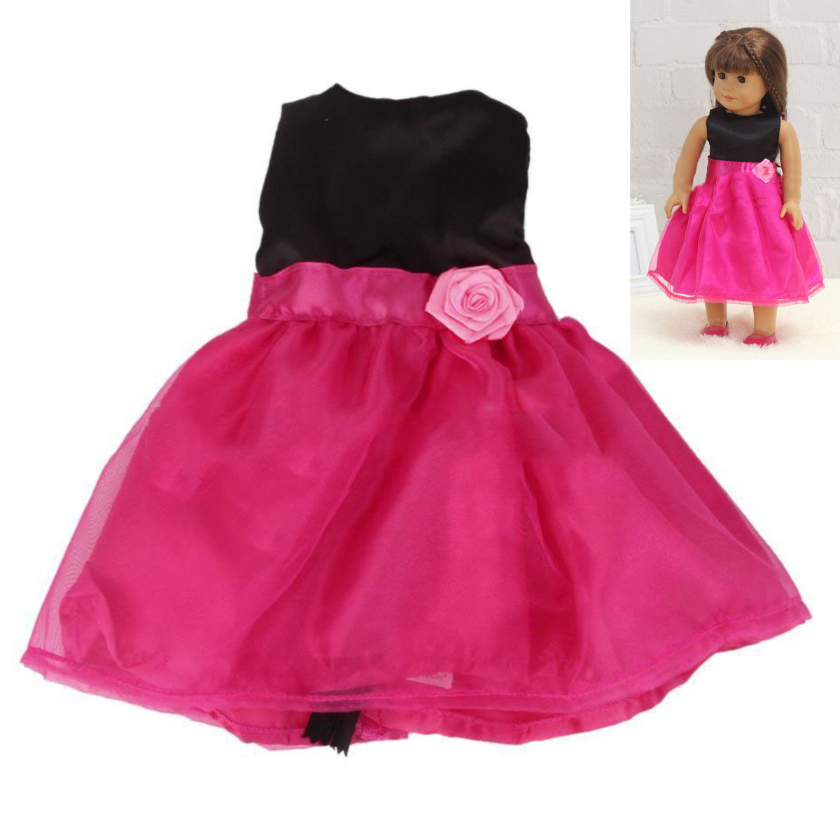 Handmade Rose Red Party Dress Skirt Clothes Gift Fits 18'' American Girl Doll SPECIAL TODAY !